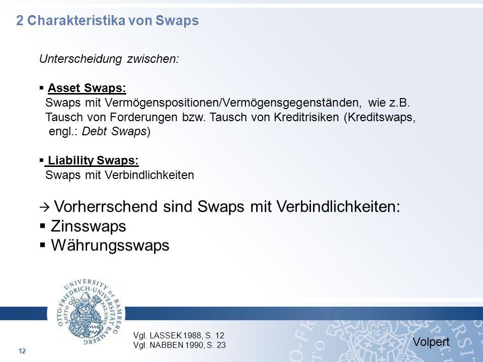 Unterscheidung zwischen:  Asset Swaps: Swaps mit Vermögenspositionen/Vermögensgegenständen, wie z.B. Tausch von Forderungen bzw. Tausch von Kreditris
