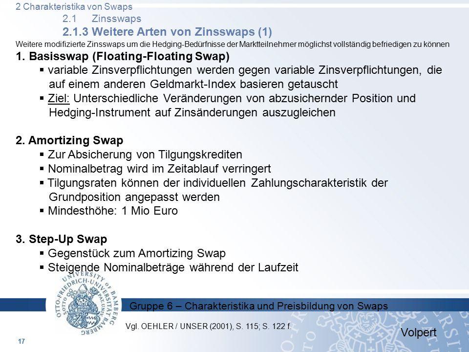 Gruppe 6 – Charakteristika und Preisbildung von Swaps Weitere modifizierte Zinsswaps um die Hedging-Bedürfnisse der Marktteilnehmer möglichst vollstän