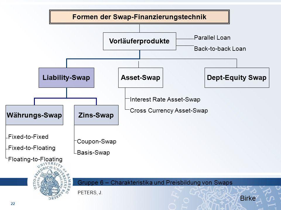 Gruppe 6 – Charakteristika und Preisbildung von Swaps Formen der Swap-Finanzierungstechnik Vorläuferprodukte Parallel Loan Back-to-back Loan Liability