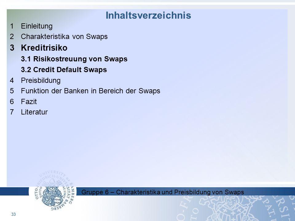 Gruppe 6 – Charakteristika und Preisbildung von Swaps 1Einleitung 2 Charakteristika von Swaps 3Kreditrisiko 3.1 Risikostreuung von Swaps 3.2 Credit De