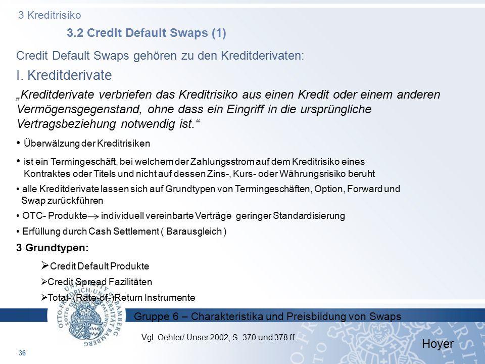 Gruppe 6 – Charakteristika und Preisbildung von Swaps 3 Kreditrisiko 3.2 Credit Default Swaps (1) 36 Credit Default Swaps gehören zu den Kreditderivat