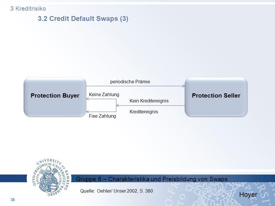 Gruppe 6 – Charakteristika und Preisbildung von Swaps 3 Kreditrisiko 3.2 Credit Default Swaps (3) 38 Protection BuyerProtection Seller periodische Prä