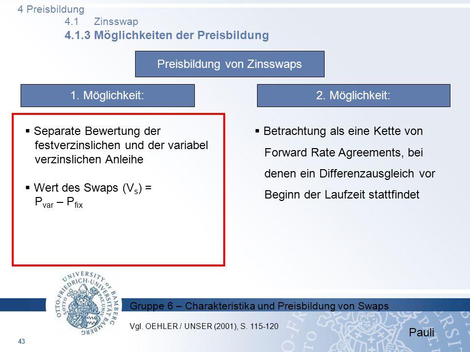 Gruppe 6 – Charakteristika und Preisbildung von Swaps Preisbildung von Zinsswaps 1. Möglichkeit:2. Möglichkeit:  Separate Bewertung der festverzinsli
