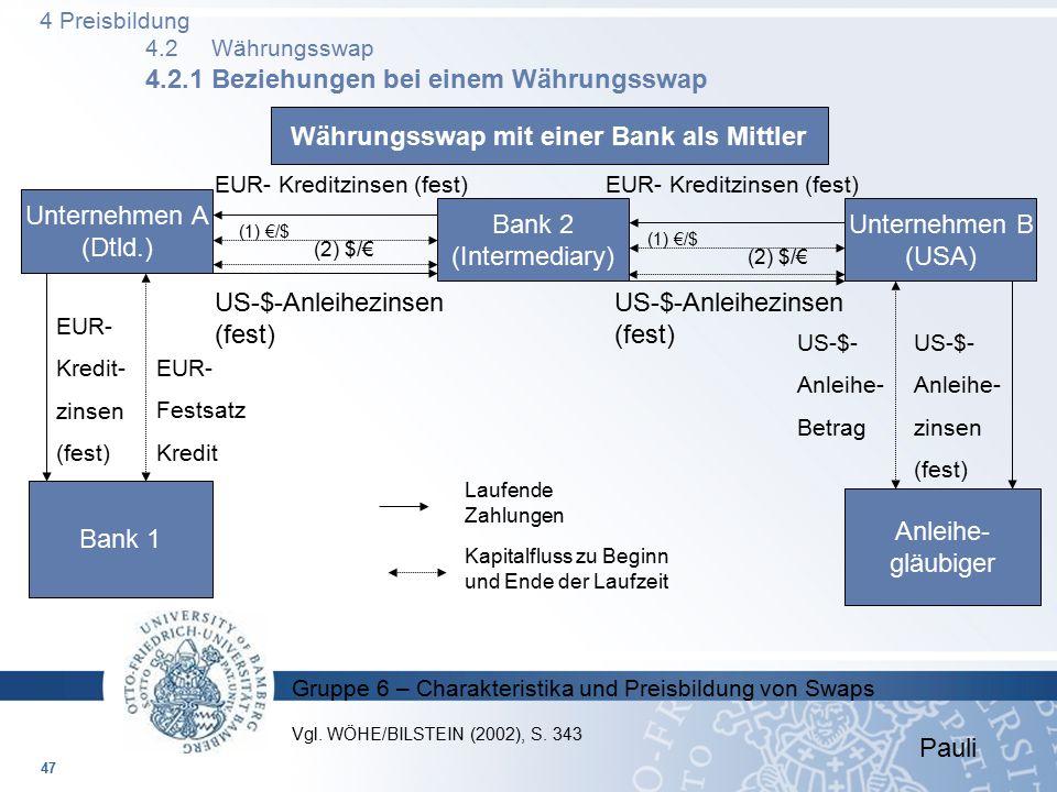 Gruppe 6 – Charakteristika und Preisbildung von Swaps Währungsswap mit einer Bank als Mittler Unternehmen A (Dtld.) Bank 2 (Intermediary) Unternehmen