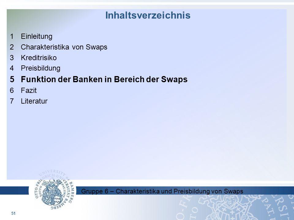 Gruppe 6 – Charakteristika und Preisbildung von Swaps 1 Einleitung 2 Charakteristika von Swaps 3Kreditrisiko 4Preisbildung 5Funktion der Banken in Ber