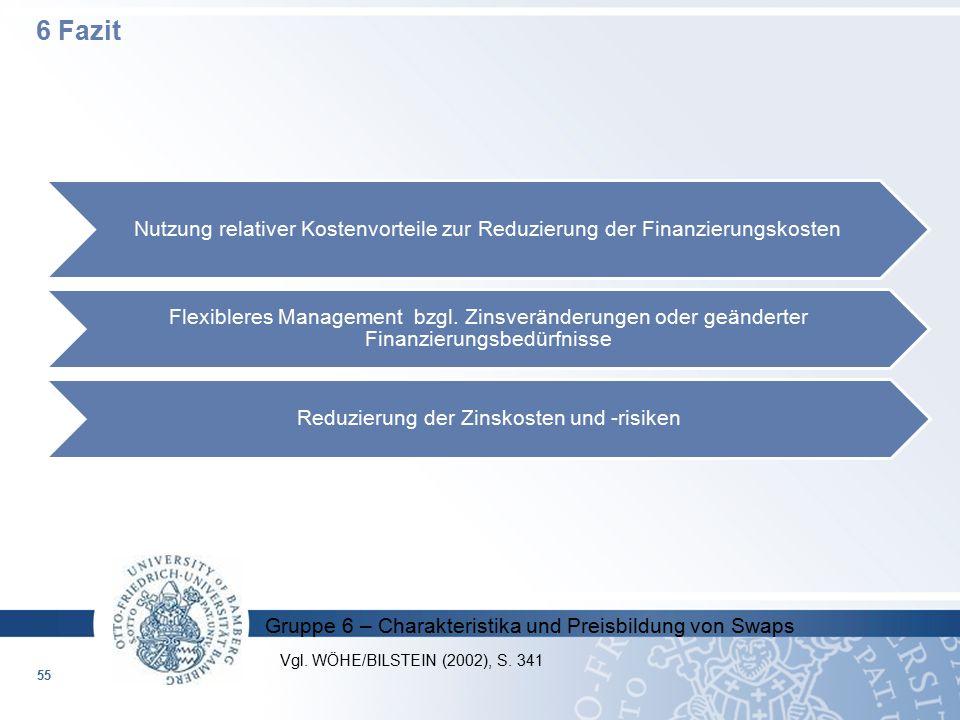 Gruppe 6 – Charakteristika und Preisbildung von Swaps Nutzung relativer Kostenvorteile zur Reduzierung der Finanzierungskosten Flexibleres Management