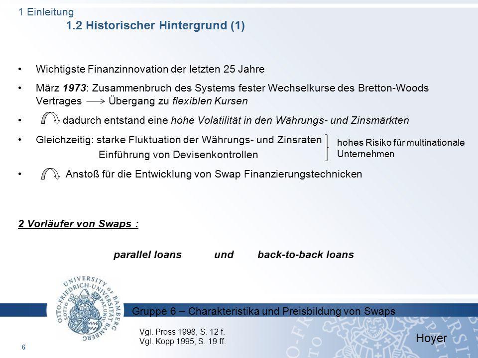 Gruppe 6 – Charakteristika und Preisbildung von Swaps  Peters, J.