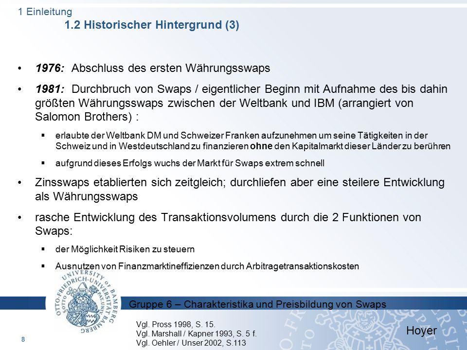 Gruppe 6 – Charakteristika und Preisbildung von Swaps 1976: Abschluss des ersten Währungsswaps 1981: Durchbruch von Swaps / eigentlicher Beginn mit Au