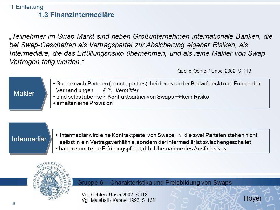 """Gruppe 6 – Charakteristika und Preisbildung von Swaps 9 Hoyer """"Teilnehmer im Swap-Markt sind neben Großunternehmen internationale Banken, die bei Swap"""