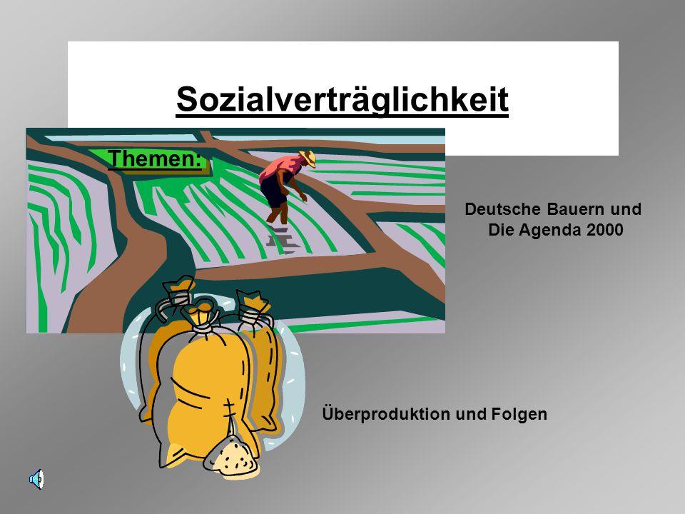 Sozialverträglichkeit Deutsche Bauern und Die Agenda 2000 Themen: Überproduktion und Folgen