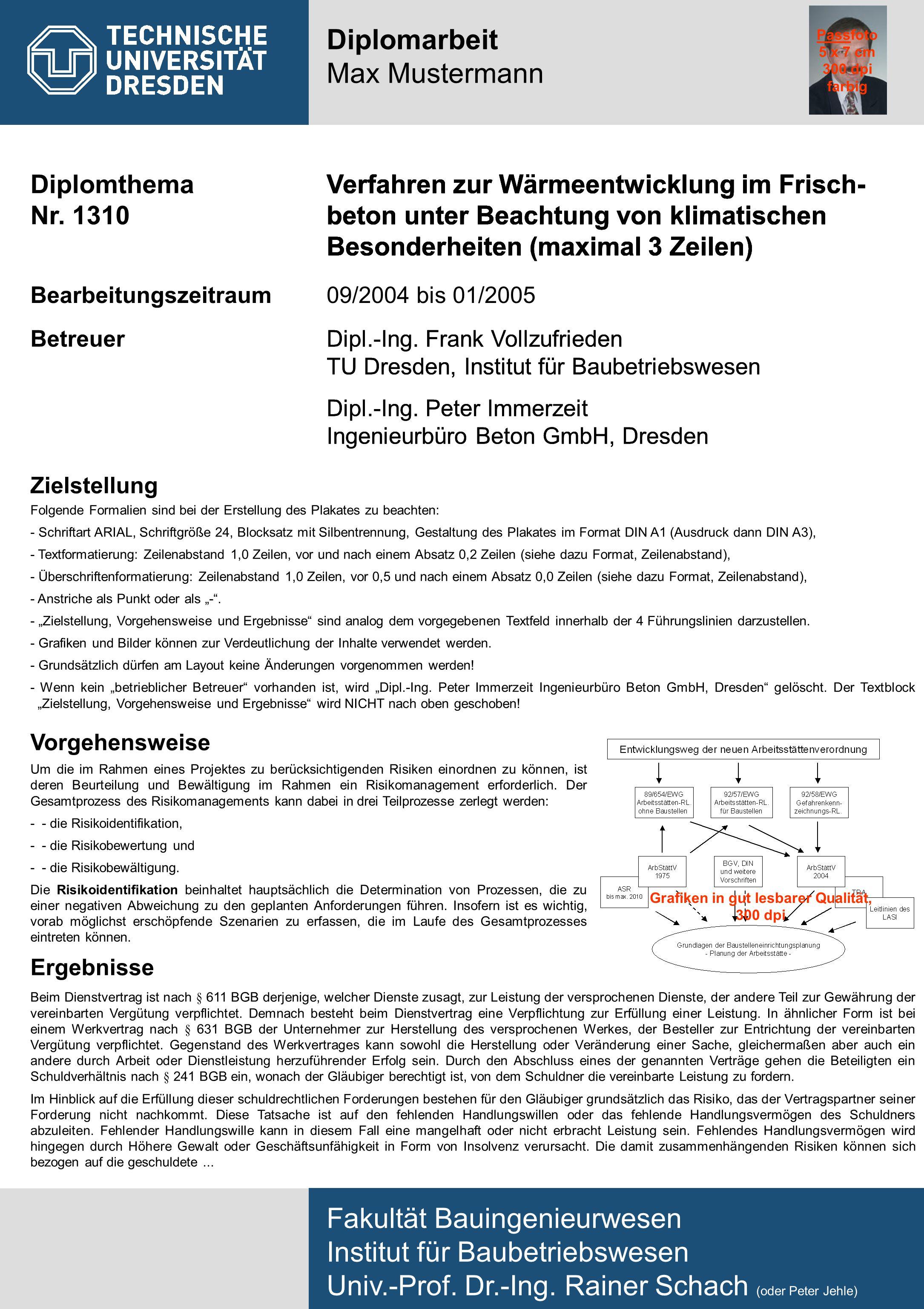 Diplomthema Nr. 1310 Fakultät Bauingenieurwesen Institut für Baubetriebswesen Univ.-Prof. Dr.-Ing. Rainer Schach (oder Peter Jehle) Diplomarbeit Max M