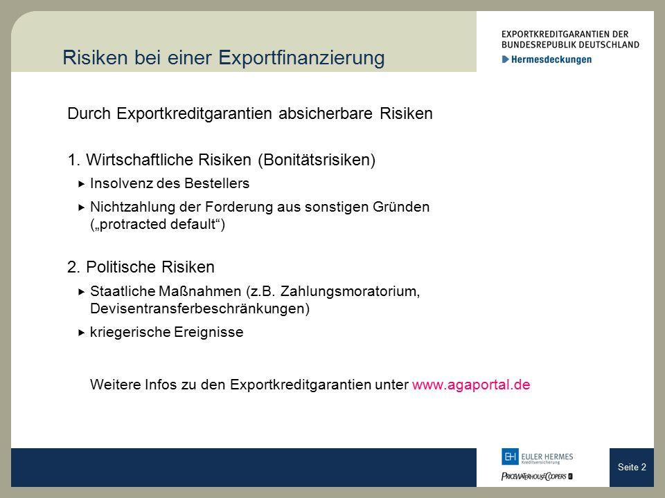 Seite 2 Risiken bei einer Exportfinanzierung Durch Exportkreditgarantien absicherbare Risiken 1.