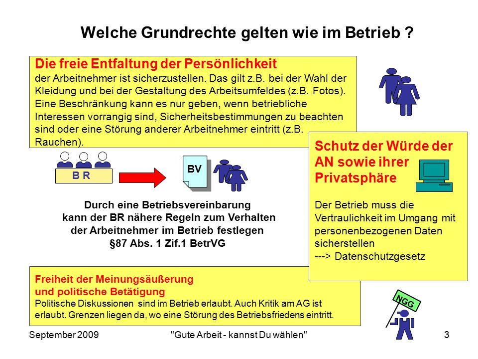 September 2009 Gute Arbeit - kannst Du wählen 3 Durch eine Betriebsvereinbarung kann der BR nähere Regeln zum Verhalten der Arbeitnehmer im Betrieb festlegen §87 Abs.