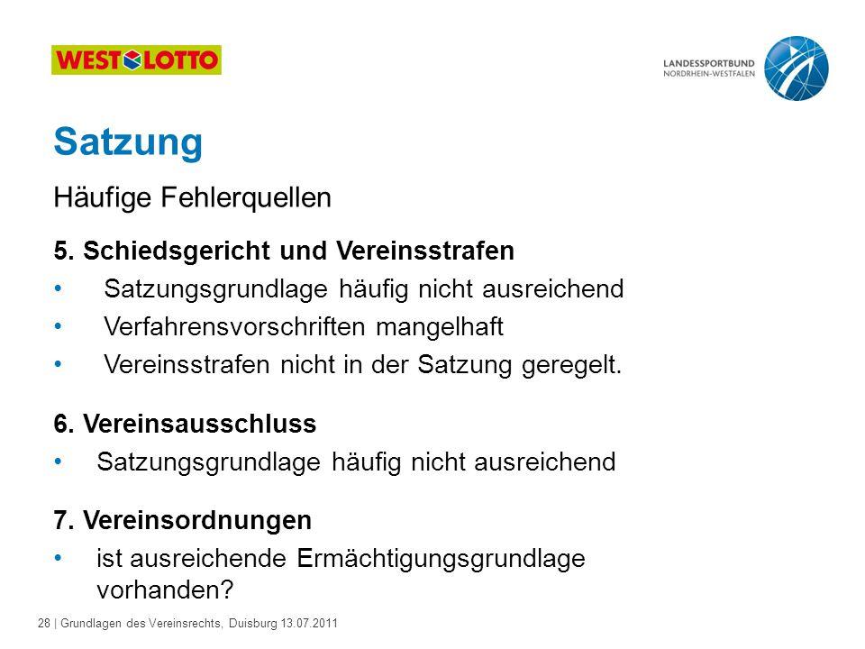 28 | Grundlagen des Vereinsrechts, Duisburg 13.07.2011 Satzung 5. Schiedsgericht und Vereinsstrafen Satzungsgrundlage häufig nicht ausreichend Verfahr