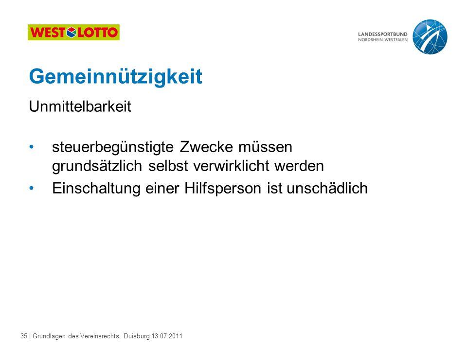35 | Grundlagen des Vereinsrechts, Duisburg 13.07.2011 Gemeinnützigkeit steuerbegünstigte Zwecke müssen grundsätzlich selbst verwirklicht werden Einsc