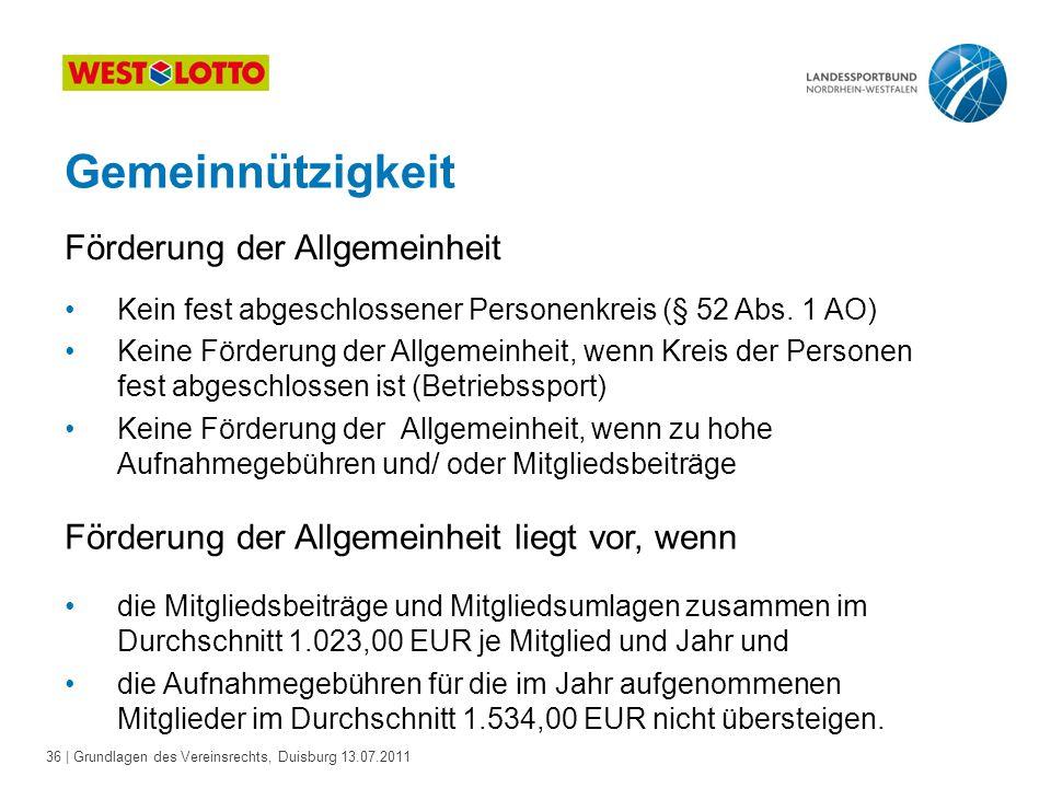 36 | Grundlagen des Vereinsrechts, Duisburg 13.07.2011 Kein fest abgeschlossener Personenkreis (§ 52 Abs. 1 AO) Keine Förderung der Allgemeinheit, wen