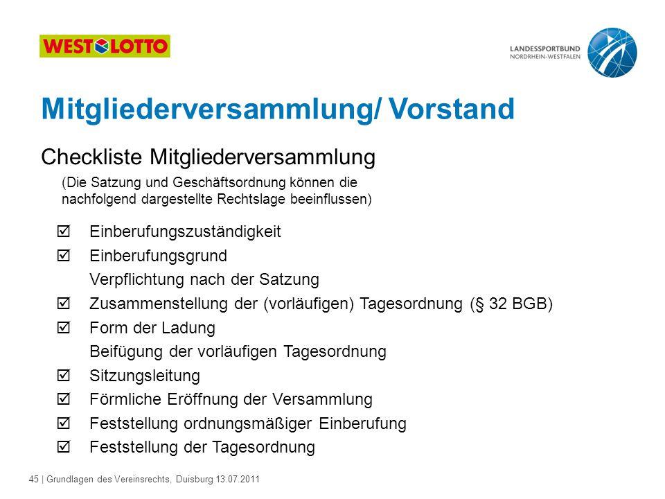 45 | Grundlagen des Vereinsrechts, Duisburg 13.07.2011 Mitgliederversammlung/ Vorstand Checkliste Mitgliederversammlung (Die Satzung und Geschäftsordn