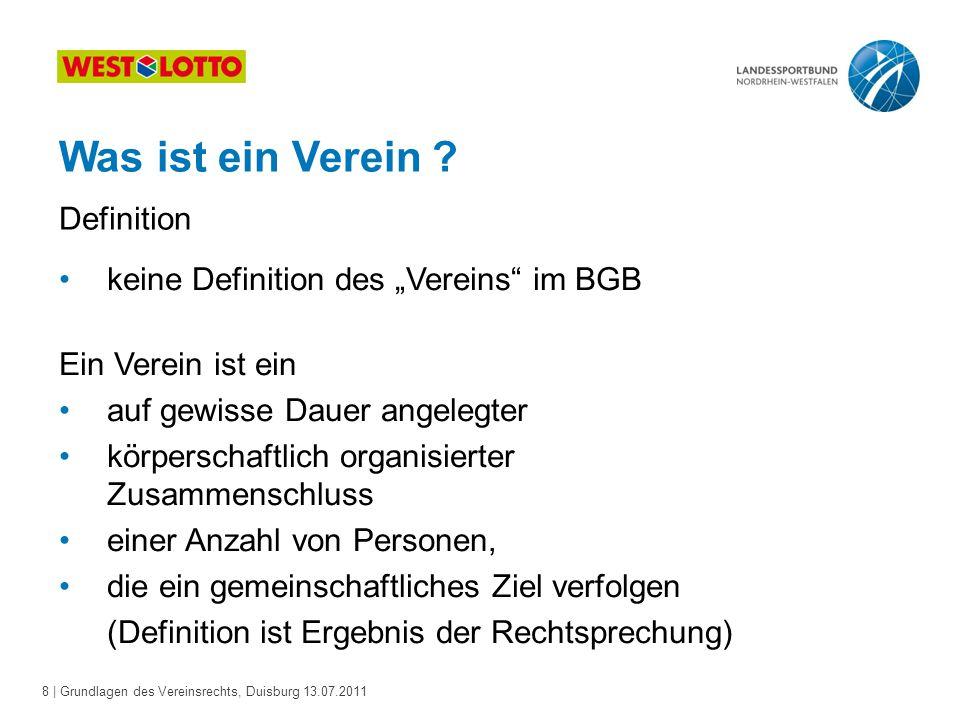 19 | Grundlagen des Vereinsrechts, Duisburg 13.07.2011 Satzung Die Satzung: muss den Anforderungen des BGB genügen.