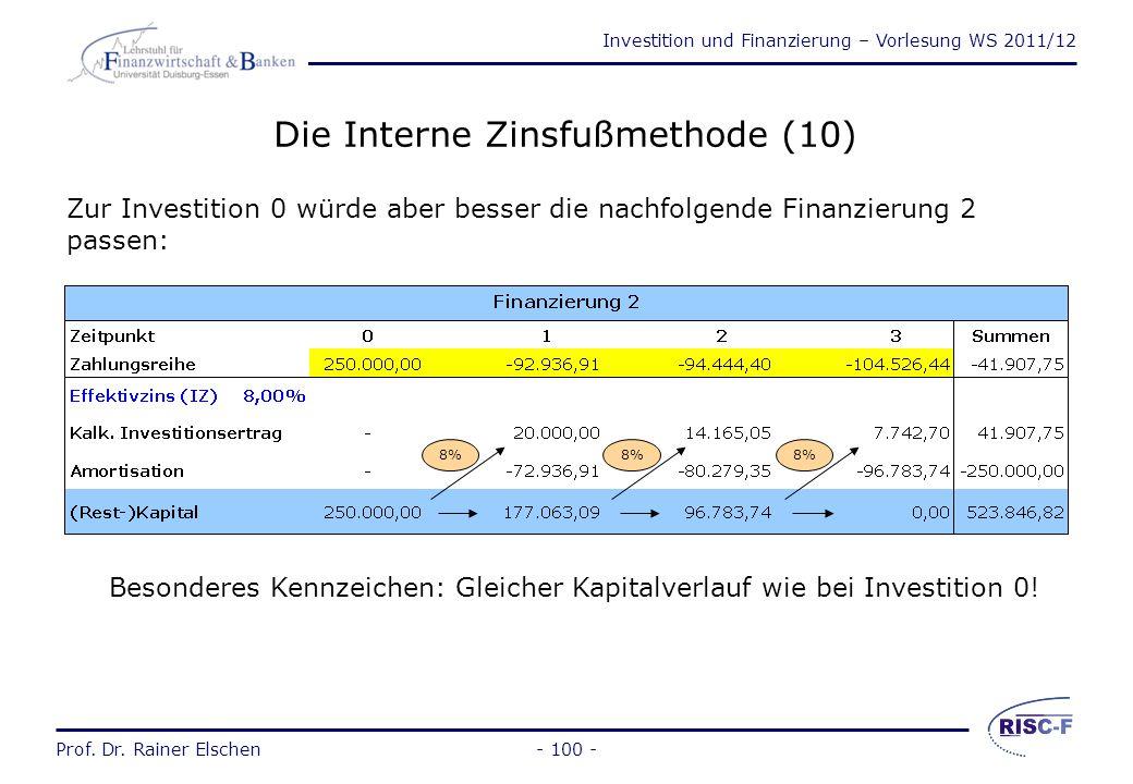 Investition und Finanzierung – Vorlesung WS 2011/12 Prof. Dr. Rainer Elschen- 99 - Disagio-Varianten werden i.d.R. aus steuerlichen Gründen vom Kredit