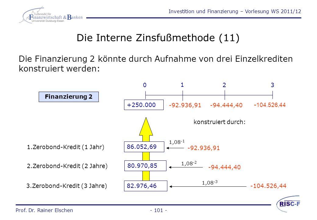 Investition und Finanzierung – Vorlesung WS 2011/12 Prof. Dr. Rainer Elschen- 100 - Die Interne Zinsfußmethode (10) Zur Investition 0 würde aber besse