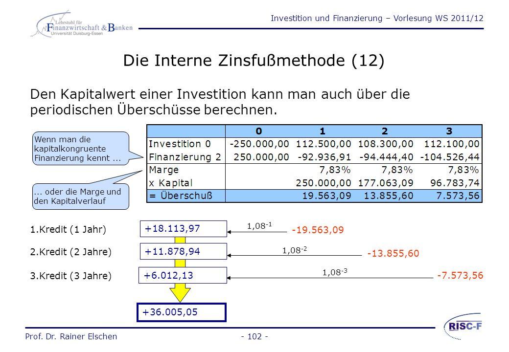 Investition und Finanzierung – Vorlesung WS 2011/12 Prof. Dr. Rainer Elschen- 101 - Die Interne Zinsfußmethode (11) Die Finanzierung 2 könnte durch Au