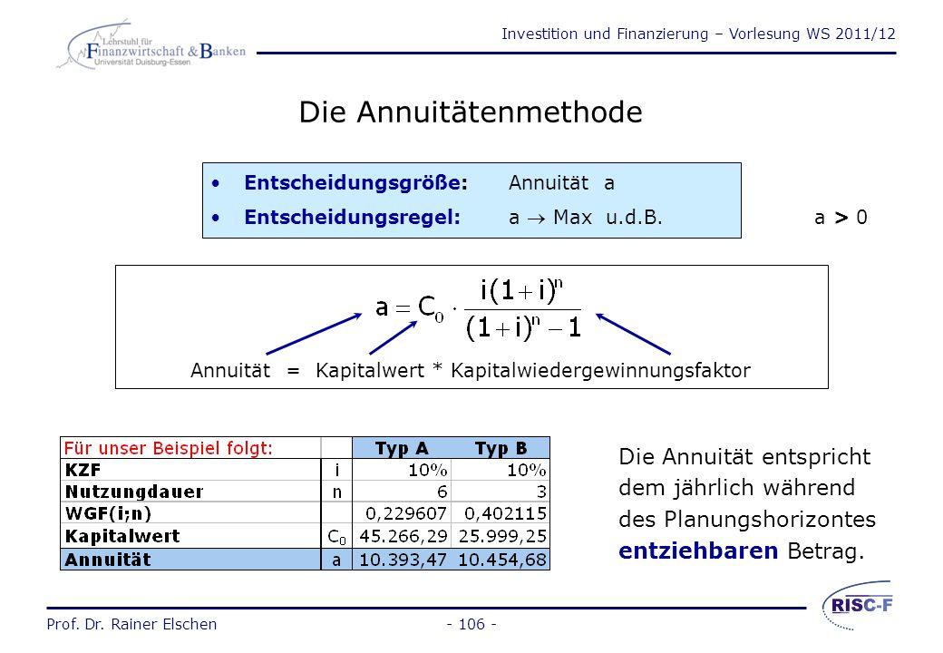 Investition und Finanzierung – Vorlesung WS 2011/12 Prof. Dr. Rainer Elschen- 105 - Finanzierungsrechnung und Investitionsrechnung Investitionsrechnun