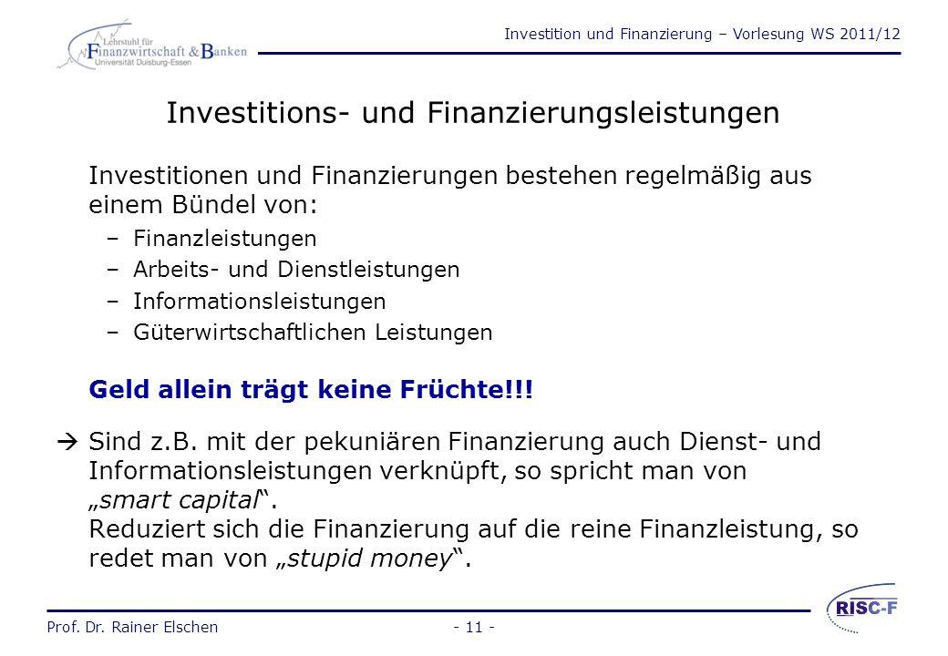 Investition und Finanzierung – Vorlesung WS 2011/12 Prof. Dr. Rainer Elschen- 10 - Allgemeiner Investitions- und Finanzierungsbegriff Investieren heiß