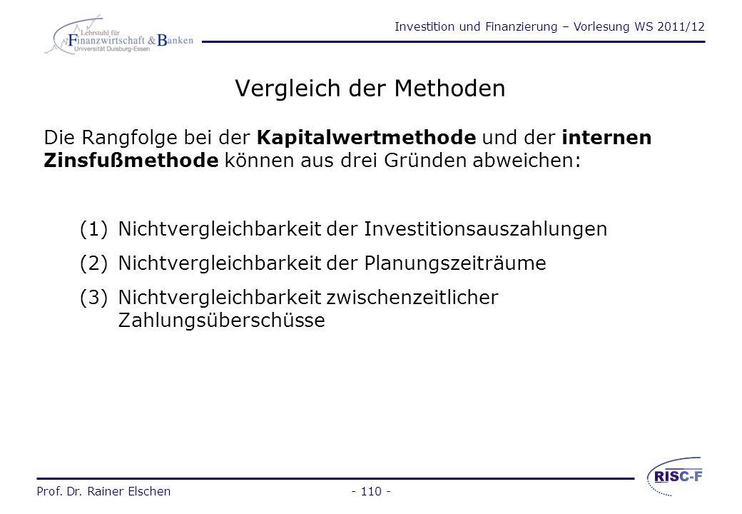 Investition und Finanzierung – Vorlesung WS 2011/12 Prof. Dr. Rainer Elschen- 109 - Prof. Dr. Rainer Elschen Investition und Finanzierung - Vorlesung