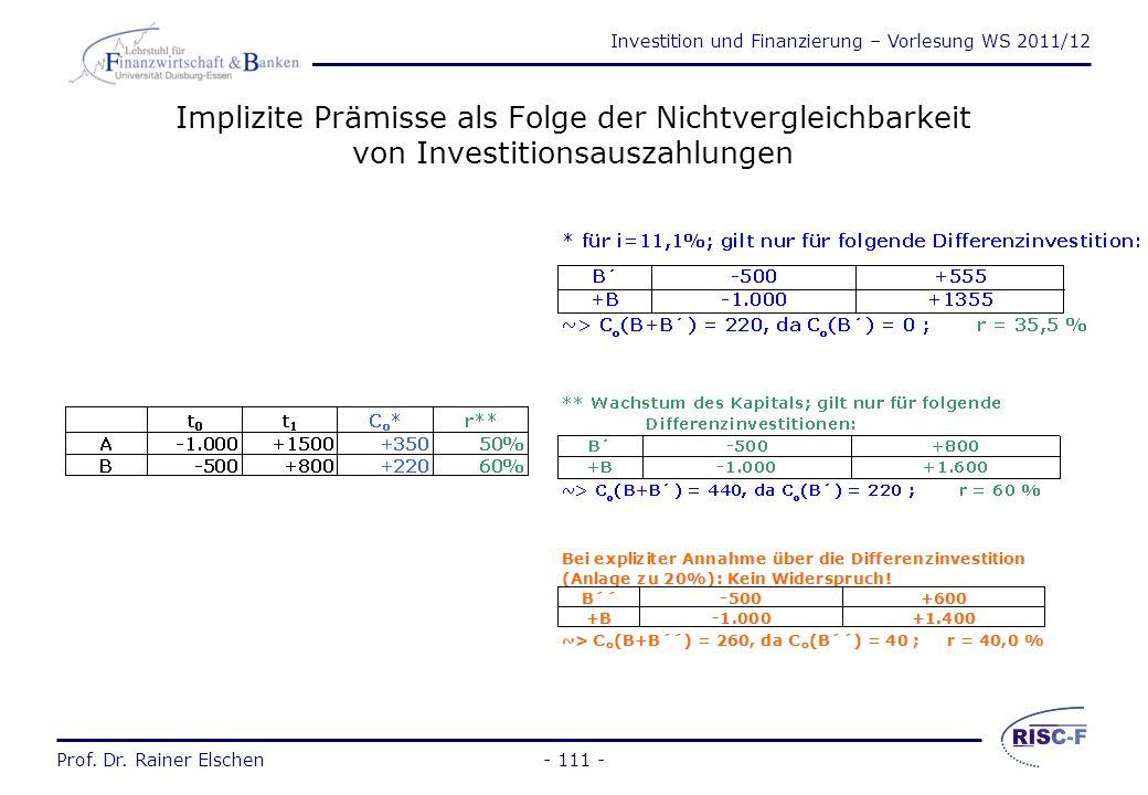 Investition und Finanzierung – Vorlesung WS 2011/12 Prof. Dr. Rainer Elschen- 110 - Vergleich der Methoden Die Rangfolge bei der Kapitalwertmethode un