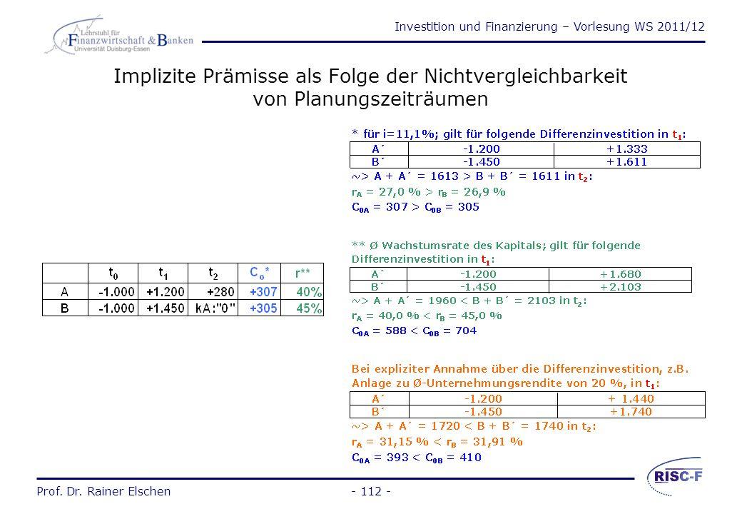 Investition und Finanzierung – Vorlesung WS 2011/12 Prof. Dr. Rainer Elschen- 111 - Implizite Prämisse als Folge der Nichtvergleichbarkeit von Investi