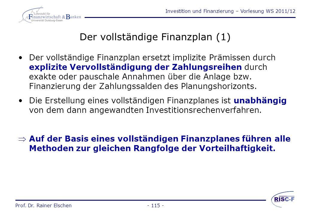 Investition und Finanzierung – Vorlesung WS 2011/12 Prof. Dr. Rainer Elschen- 114 - Versagt die Interne Zinsfußmethode? Oder versagen die Anwender? Da