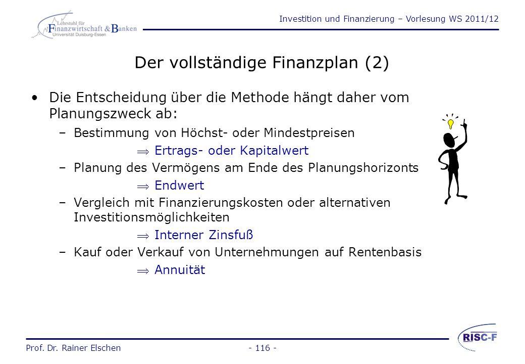 Investition und Finanzierung – Vorlesung WS 2011/12 Prof. Dr. Rainer Elschen- 115 - Der vollständige Finanzplan (1) Der vollständige Finanzplan ersetz