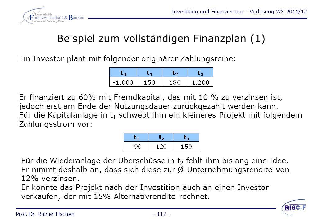 Investition und Finanzierung – Vorlesung WS 2011/12 Prof. Dr. Rainer Elschen- 116 - Der vollständige Finanzplan (2) Die Entscheidung über die Methode