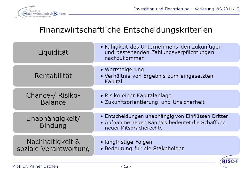 Investition und Finanzierung – Vorlesung WS 2011/12 Prof. Dr. Rainer Elschen- 11 - Investitions- und Finanzierungsleistungen Investitionen und Finanzi