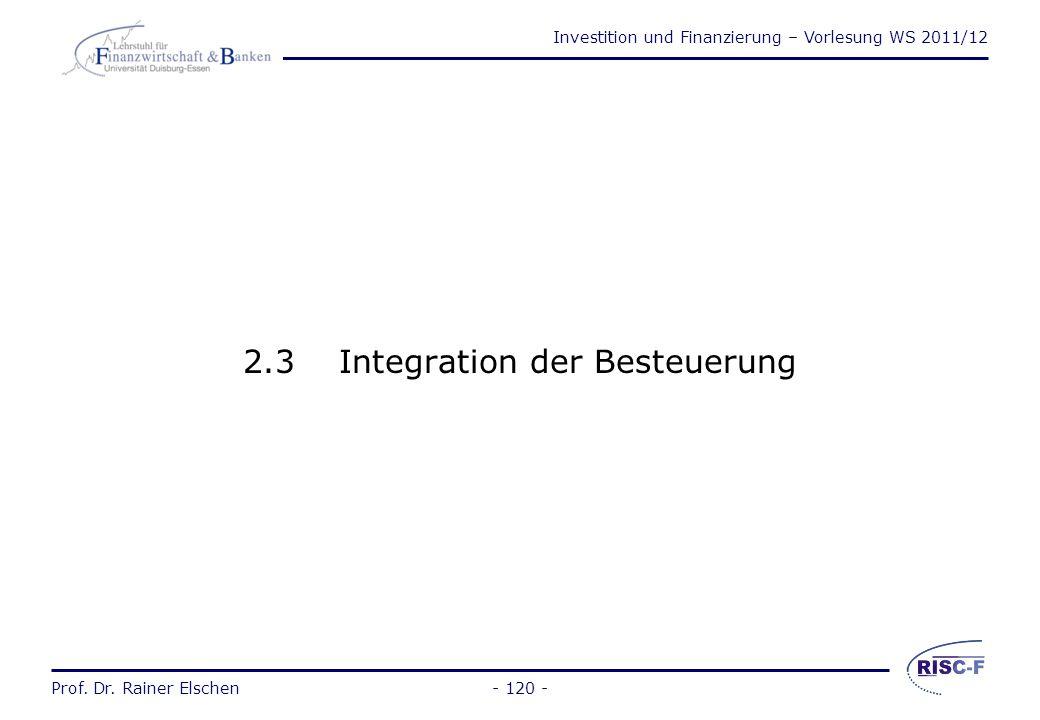 Investition und Finanzierung – Vorlesung WS 2011/12 Prof. Dr. Rainer Elschen- 119 - Beispiel zum vollständigen Finanzplan (3) t 0 t 1 t 2 t 3 Zahlungs
