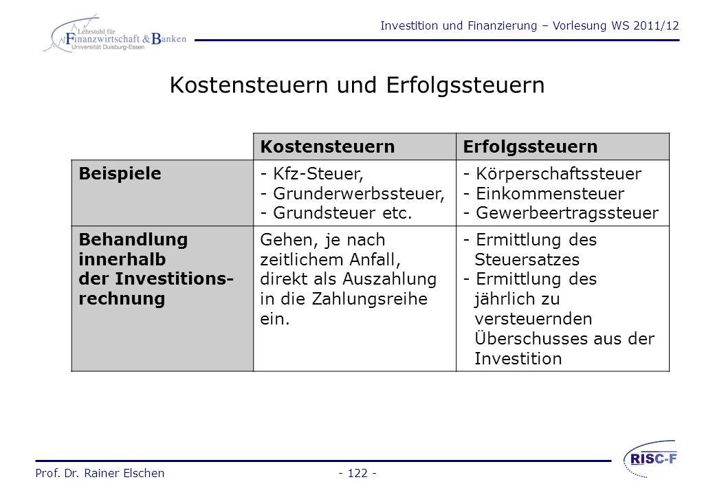 Investition und Finanzierung – Vorlesung WS 2011/12 Prof. Dr. Rainer Elschen- 121 - Berücksichtigung von Steuern Die Steuern sind zusätzliche Auszahlu