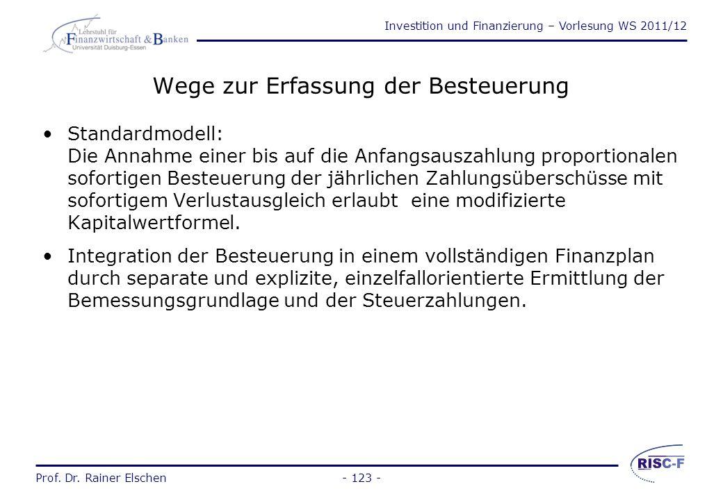 Investition und Finanzierung – Vorlesung WS 2011/12 Prof. Dr. Rainer Elschen Kostensteuern und Erfolgssteuern - 122 - KostensteuernErfolgssteuern Beis