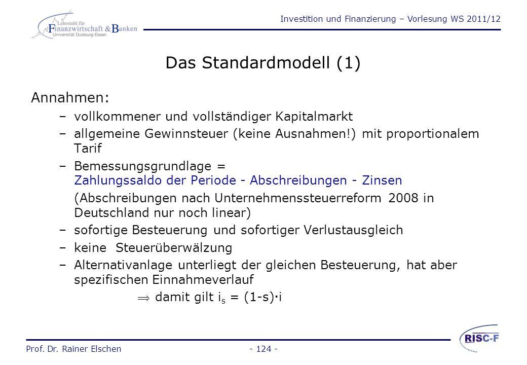 Investition und Finanzierung – Vorlesung WS 2011/12 Prof. Dr. Rainer Elschen- 123 - Wege zur Erfassung der Besteuerung Standardmodell: Die Annahme ein