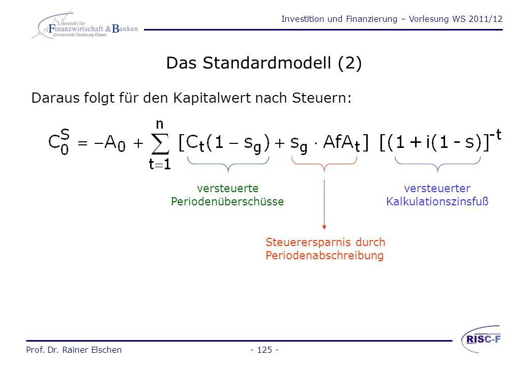 Investition und Finanzierung – Vorlesung WS 2011/12 Prof. Dr. Rainer Elschen- 124 - Das Standardmodell (1) Annahmen: –vollkommener und vollständiger K