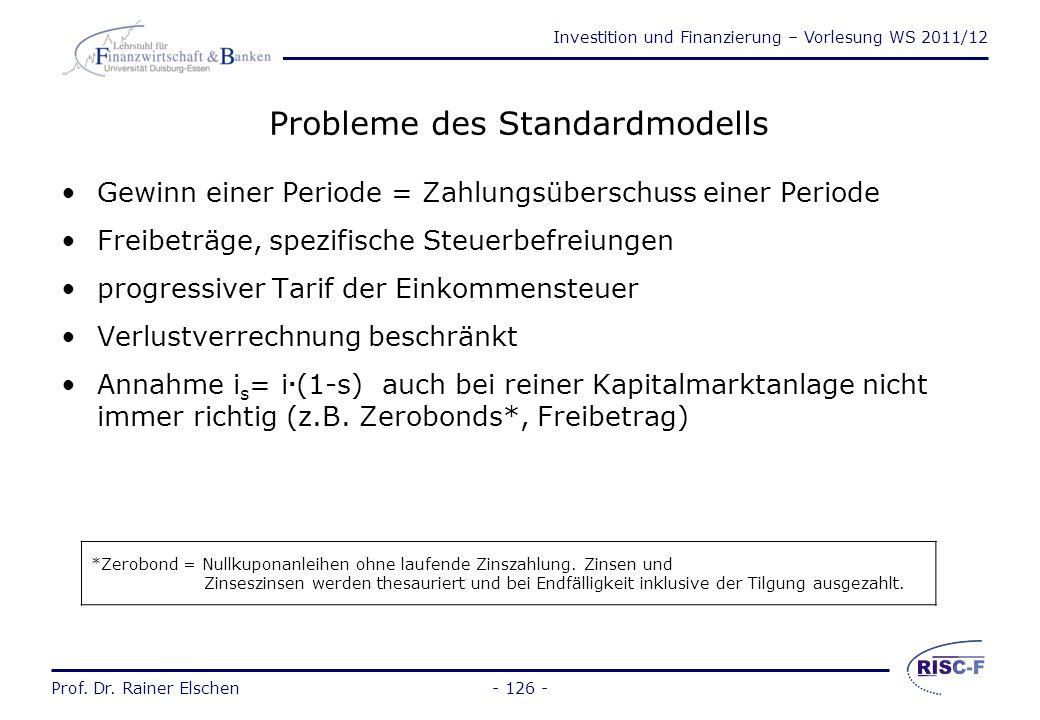 Investition und Finanzierung – Vorlesung WS 2011/12 Prof. Dr. Rainer Elschen- 125 - Das Standardmodell (2) Daraus folgt für den Kapitalwert nach Steue