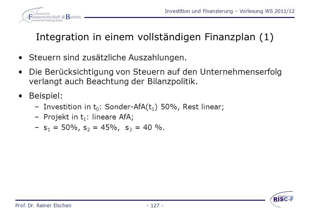 Investition und Finanzierung – Vorlesung WS 2011/12 Prof. Dr. Rainer Elschen- 126 - Probleme des Standardmodells Gewinn einer Periode = Zahlungsübersc