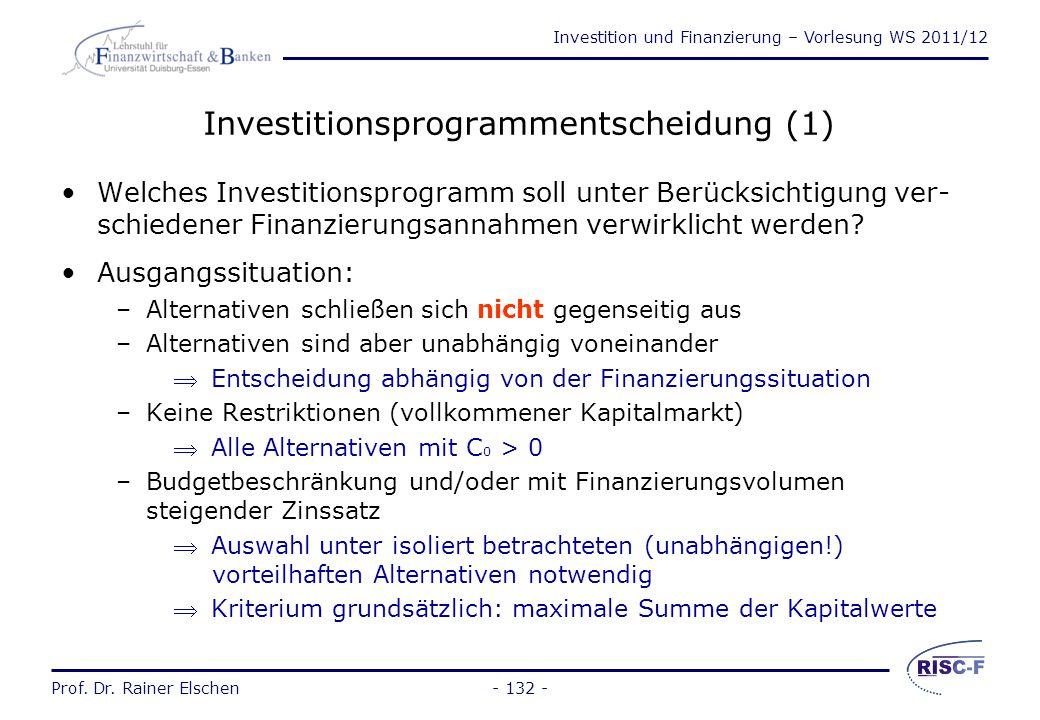 Investition und Finanzierung – Vorlesung WS 2011/12 Prof. Dr. Rainer Elschen- 131 - 2.4Bestimmung von Investitionsprogrammen