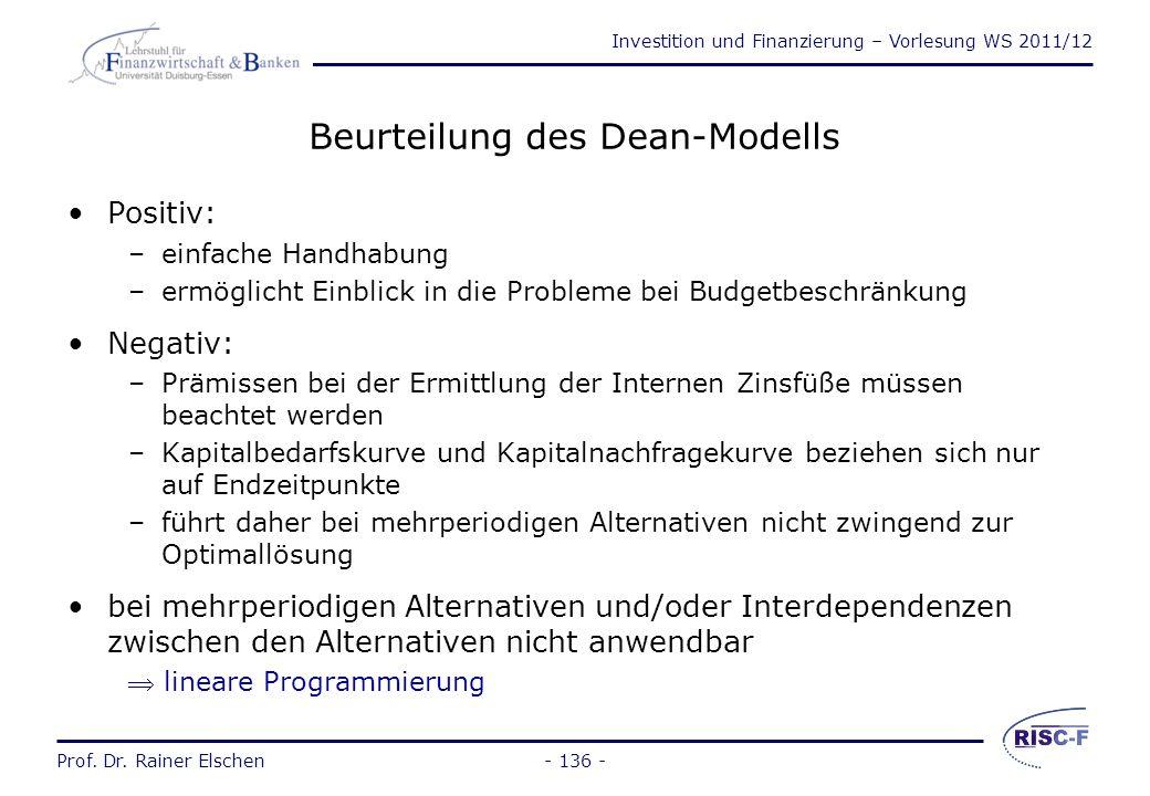 Investition und Finanzierung – Vorlesung WS 2011/12 Prof. Dr. Rainer Elschen- 135 - Beispiel zum Dean-Modell (2) Graphische Lösung: 11% 190 100300400