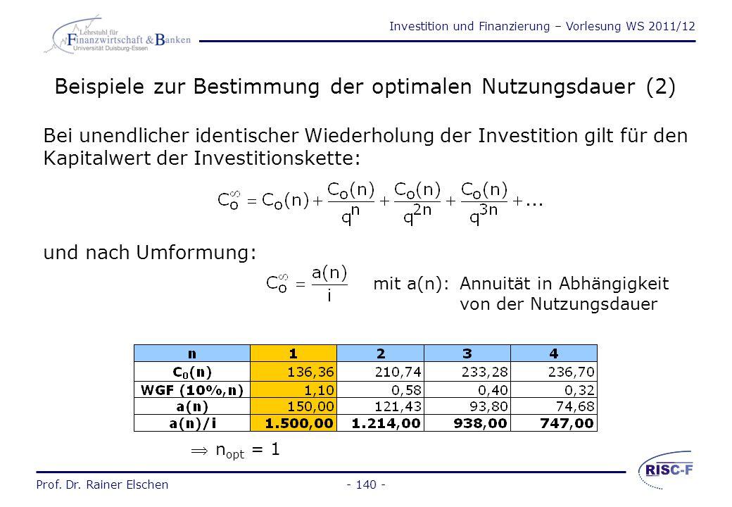 Investition und Finanzierung – Vorlesung WS 2011/12 Prof. Dr. Rainer Elschen- 139 - Beispiele zur Bestimmung der optimalen Nutzungsdauer (1) bei einma