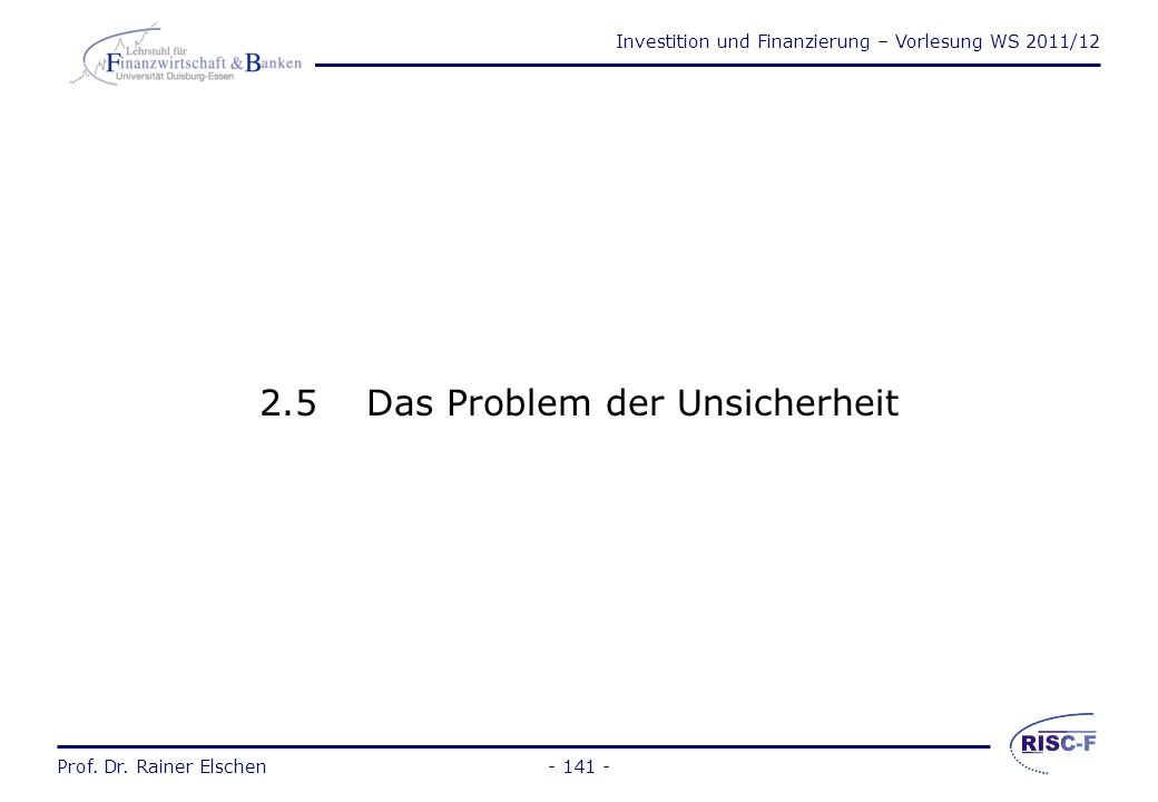 Investition und Finanzierung – Vorlesung WS 2011/12 Prof. Dr. Rainer Elschen- 140 - Beispiele zur Bestimmung der optimalen Nutzungsdauer (2) Bei unend