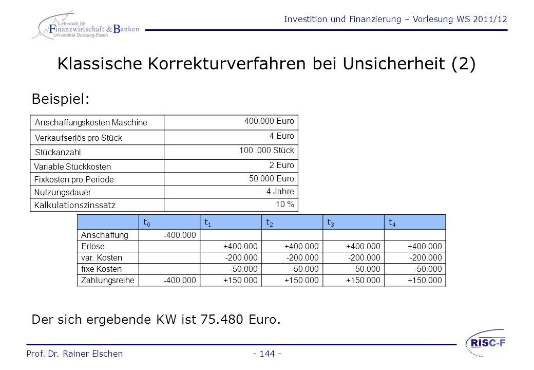 Investition und Finanzierung – Vorlesung WS 2011/12 Prof. Dr. Rainer Elschen- 143 - Klassische Korrekturverfahren bei Unsicherheit (1) Risikozu- bzw.
