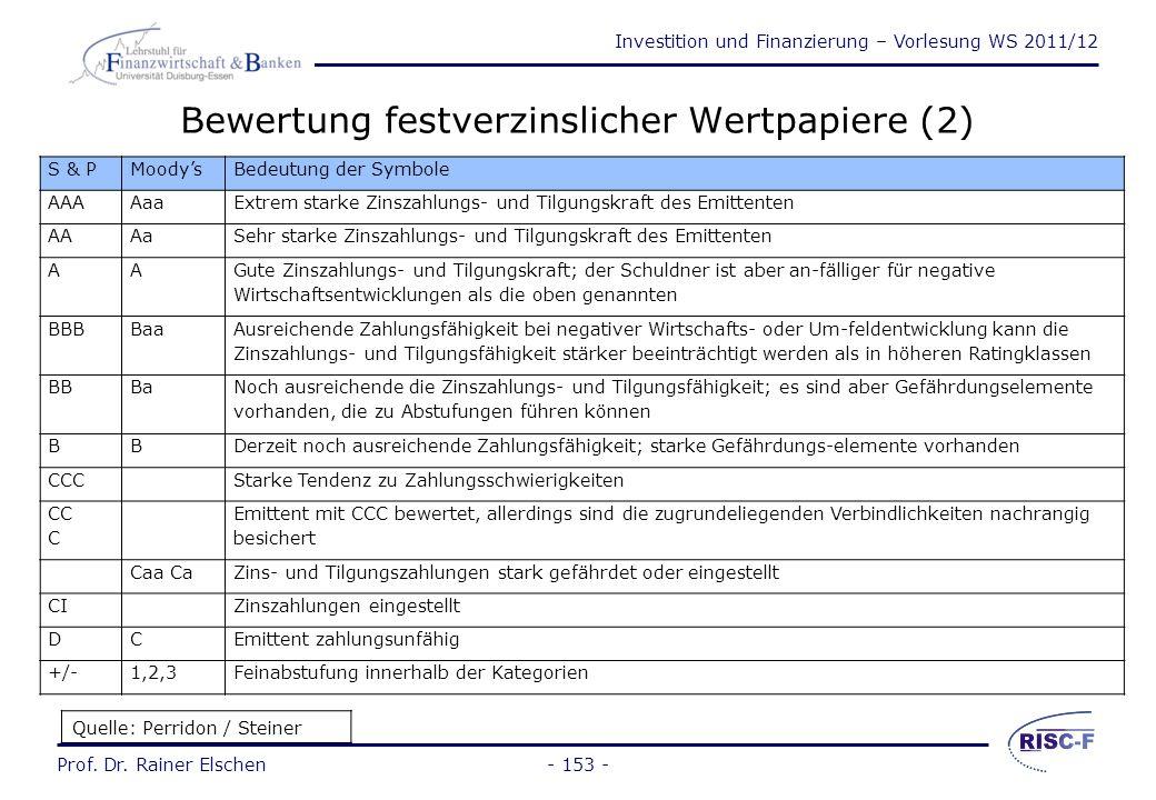 Investition und Finanzierung – Vorlesung WS 2011/12 Prof. Dr. Rainer Elschen- 152 - Bewertung festverzinslicher Wertpapiere (1) Bewertungskriterien: S