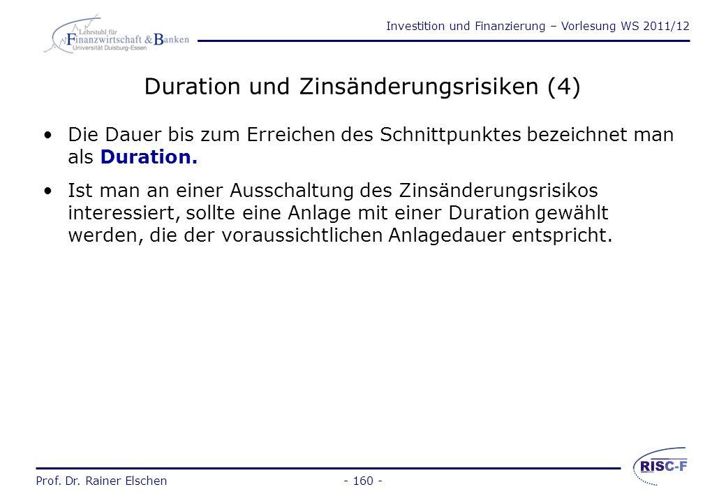 Investition und Finanzierung – Vorlesung WS 2011/12 Prof. Dr. Rainer Elschen- 159 - Duration und Zinsänderungsrisiken (3) 0 (-i) (+i) PV Wert möglic