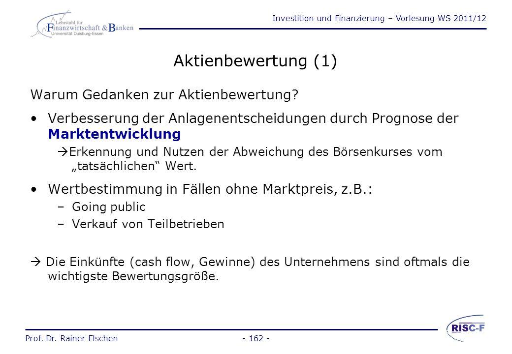 Investition und Finanzierung – Vorlesung WS 2011/12 Prof. Dr. Rainer Elschen Duration und Zinsänderungsrisiken (5) Es seien folgende Werte gegeben: No
