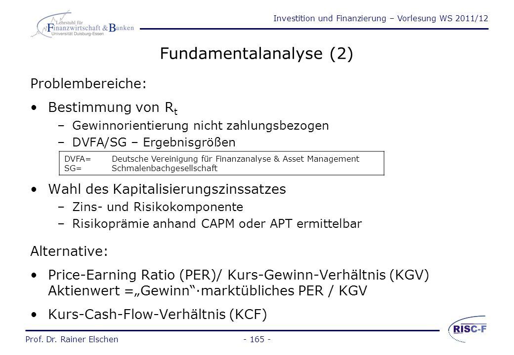 Investition und Finanzierung – Vorlesung WS 2011/12 Prof. Dr. Rainer Elschen- 164 - Fundamentalanalyse (1) Gegenwartswert der Aktie (Innerer Wert) K 0